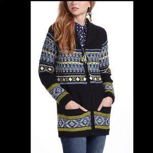 Anthro Sparrow Batley Fair Isle Sweater Coat, XS